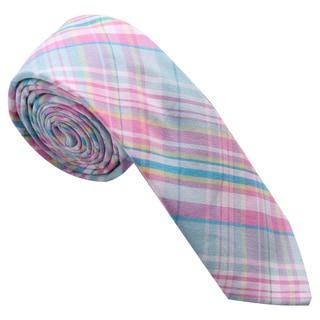 Skinny Tie Madness Men's Pink Cotton Plaid Skinny Tie