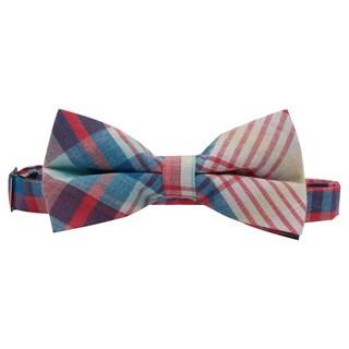 Skinny Tie Madness Men's Blue Cotton Plaid Pretied Bowtie