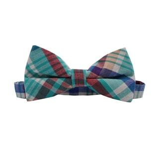 Skinny Tie Madness Men's Cotton Pretied Plaid Bow Tie