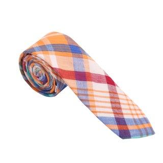 Skinny Tie Madness Men's Cotton Orange Plaid Skinny Tie