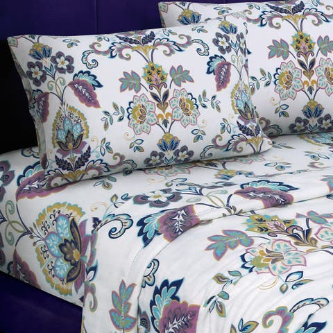 Hemstitched Abstract Paisley Printed Deep Pocket Flannel Bed Sheet Set