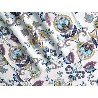 Hemstitched Abstract Paisley Printed Deep Pocket Flannel Sheet Set
