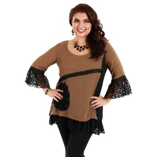 Firmiana Women's Plus Size Beige and Black Lace-sleeve Top