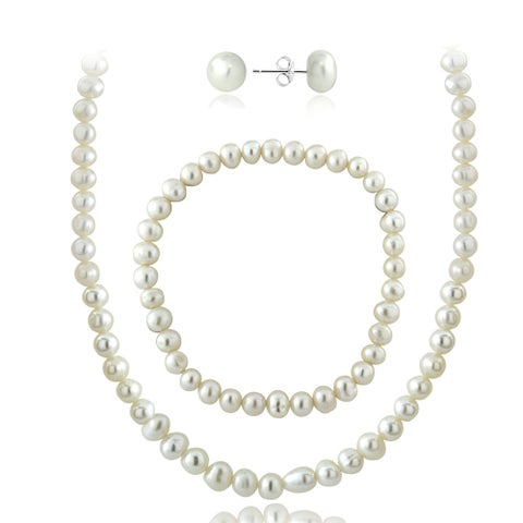 Glitzy Rocks Sterling Silver Freshwater Cultured Pearl Necklace, Bracelet, and Stud Earrings Set