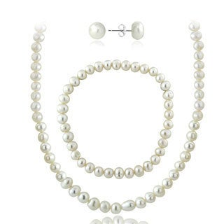 Glitzy Rocks Sterling Silver Genuine Freshwater Cultured Pearl Necklace Bracelet and Stud Earrings Set (5.5-6 mm)