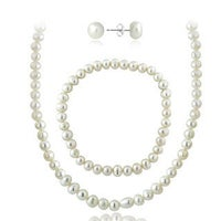 Glitzy Rocks Sterling Silver Freshwater Cultured Pearl Necklace Bracelet And Stud Earrings Set