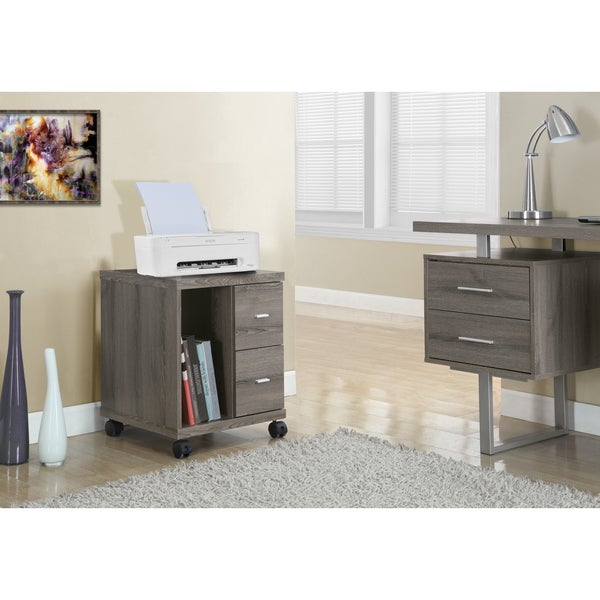 Dark Taupe Reclaimed Look 2-drawer Mobile Castor Stand - Free Shipping