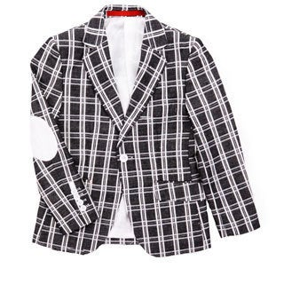 Elie Balleh Boys Plaid Blazer with Elbow Patches
