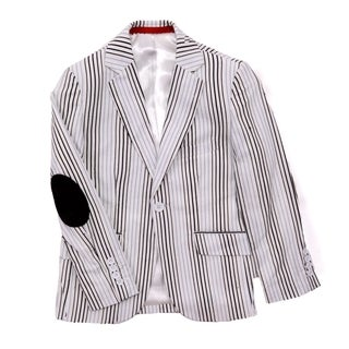 Elie Balleh Boys White and Neutral Striped Blazer