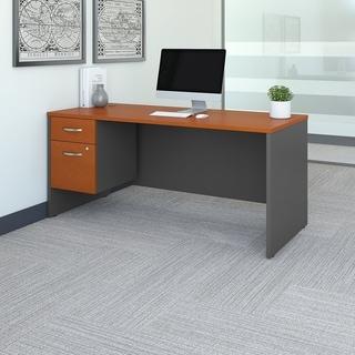 Bush Business Furniture Series C 66W x 30D Office Desk with Pedestal (Brown - Cherry Finish - Wood - Student Desks)