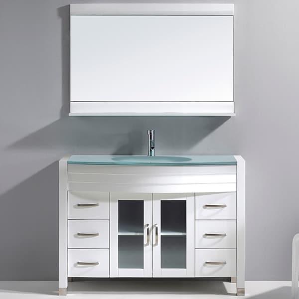 Virtu Usa Ava 48 Inch Single Sink White Bathroom Vanity Set Free Shipping Today Overstock