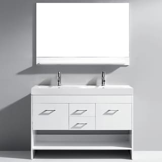 Virtu USA Gloria 48-inch White Double Sink Bathroom Vanity Set