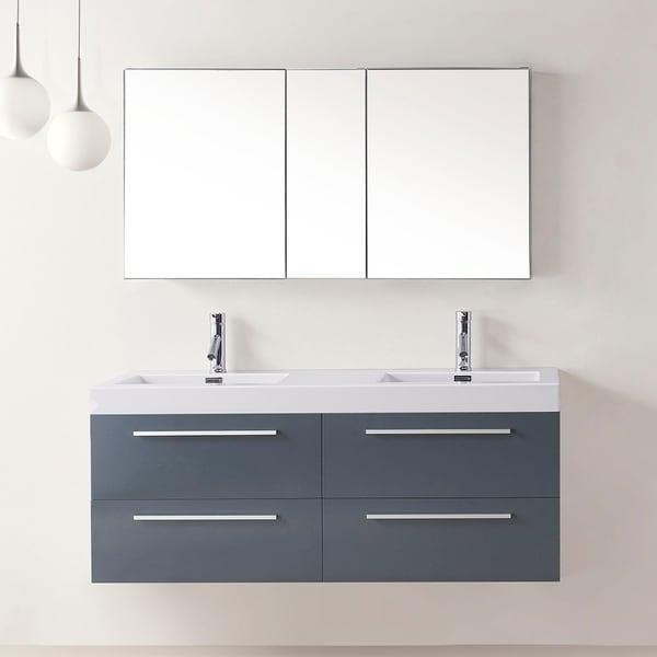shop virtu usa finley 54 inch grey double sink bathroom vanity set free shipping today. Black Bedroom Furniture Sets. Home Design Ideas