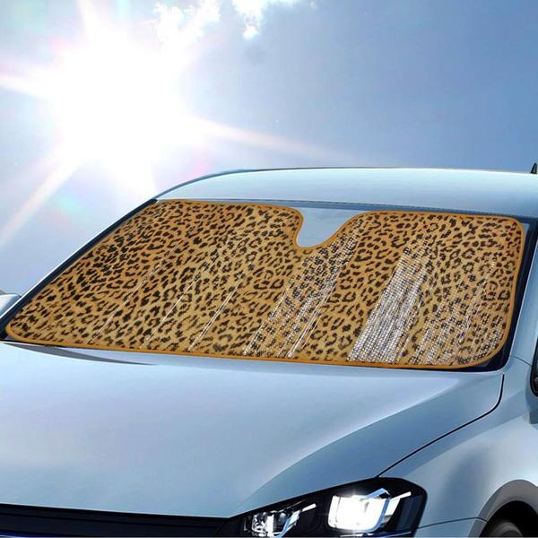 Bdk Original Animal Print Beige Leopard Sun Shade For Car