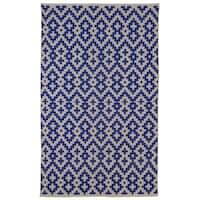 Handmade Indo Samsara Indigo and Natural Geometric Area Rug (8' x 10')