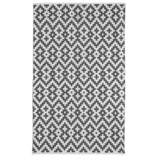 Samsara Charcoal Grey and White Geometric Area Rug (6' x 9')