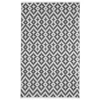 Handmade Indo Samsara Charcoal Grey and White Geometric Area Rug (6' x 9')