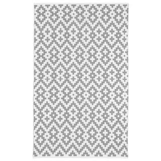 Handmade Indo Samsara Charcoal Grey and White Geometric Rug (India) - 5' x 8'