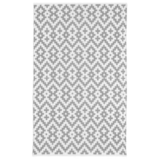 Samsara Charcoal Grey and White Geometric Area Rug (5' x 8')