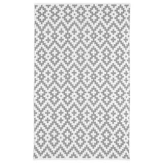 Samsara Charcoal Grey and White Geometric Area Rug (5' x 8')