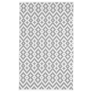 Handmade Indo Samsara Charcoal Grey and White Geometric Area Rug (5' x 8')
