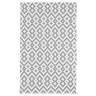 Samsara Charcoal Grey and White Geometric Area Rug (4' x 6')