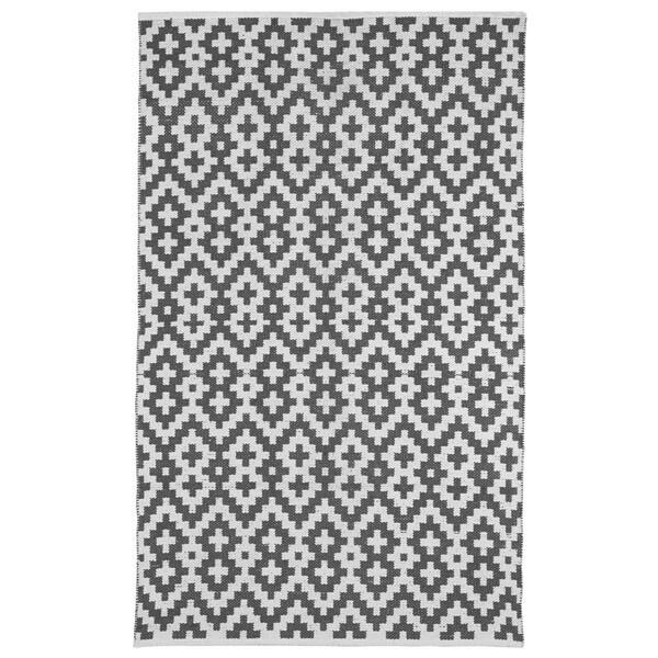 Handmade Indo Samsara Charcoal Grey and White Geometric Area Rug (3' x 5')