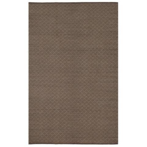 Handmade Indo Karma Brown Geometric Area Rug (India) - 6' x 9'