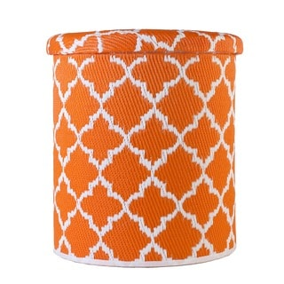 Handmade Tangier Carrot and White Outdoor Storage Pouf (India)