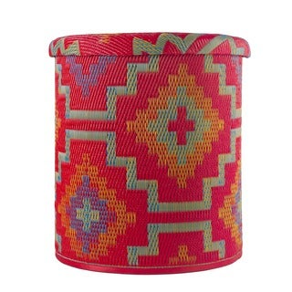 Lhasa Orange and Violet Outdoor Storage Pouf (India)