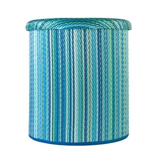 Cancun Turquoise and Moss Green Outdoor Storage Pouf (India)
