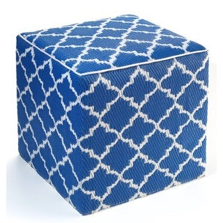 Tangier Regatta Blue and White Cube Ottoman Pouf (India)