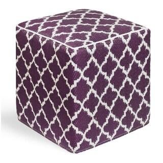 Tangier Plum and White Cube Ottoman Pouf (India)