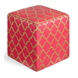 Handmade Tangier Pinkberry and Bronze Cube Ottoman Pouf (India)