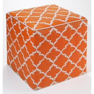 Tangier Carrot and White Cube Ottoman Pouf (India)