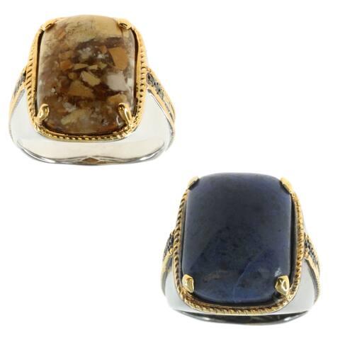 Michael Valitutti Palladium Silver Men's Brecciated Mookaite or Dumortierite Sapphire Ring