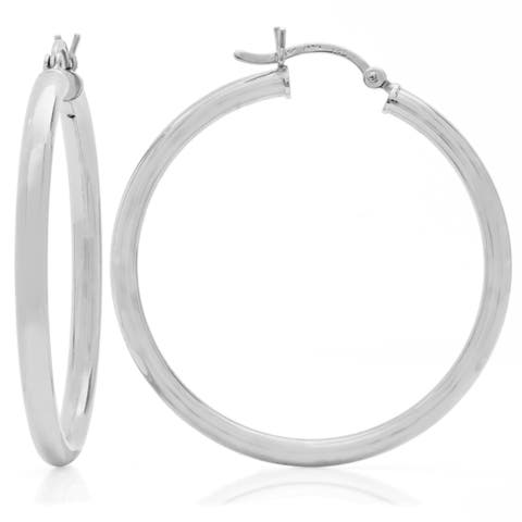 Sterling Essentials Silver 1.5-inch Bold Tube Hoop Earrings