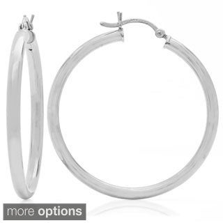 Sterling Essentials Silver 1.5-inch Bold Tube Hoop Earrings