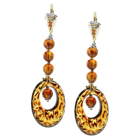 Michael Valitutti Amber Carved Earrings