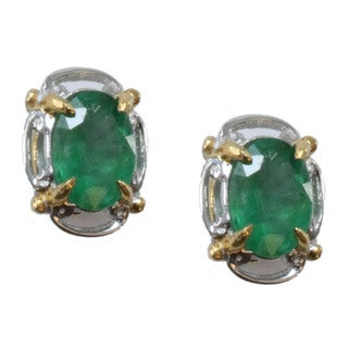 Michael Valitutti Palladium Silver Emerald Stud Earrings