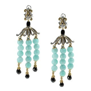 Michael Valitutti Amazonite, Black Spinel And Blue Sapphire Drop Earrings