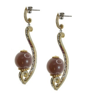Michael Valitutti Chocolate Moonstone Drop Earrings