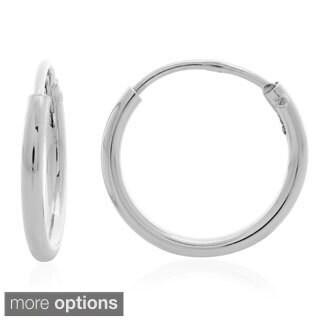 Sterling Silver 0.6-inch Thin Tube Hoop Earrings