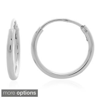 Sterling Essentials Silver 0.7-inch Thin Tube Hoop Earrings