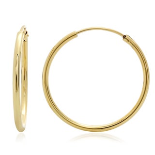 Sterling Essentials Silver 1-inch Thin Tube Hoop Earrings