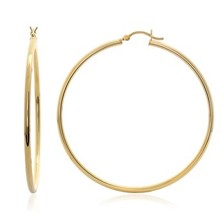 Sterling Essentials Silver 2-inch Classic Tube Hoop Earrings