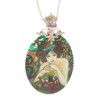 Michael Valitutti 'Art Nouveau' Painted Mother of Pearl Shell Necklace