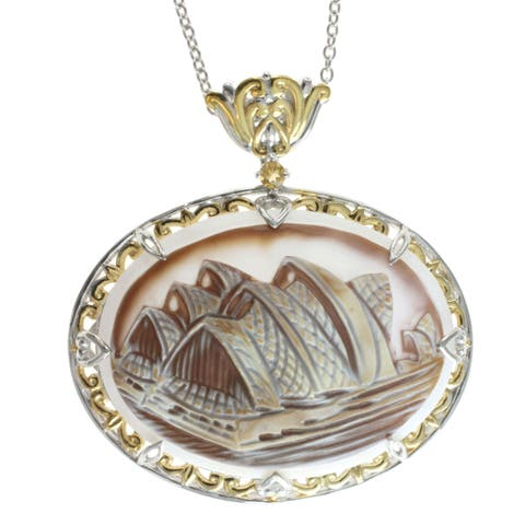 Michael Valitutti Carved 'Opera House' Cameo Necklace