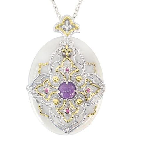 Gems en Vogue Palladium Silver White Agate, Purple Jade & Pink Sapphire Necklace