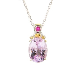 Michael Valitutti Kunzite and Hot Pink Sapphire Necklace